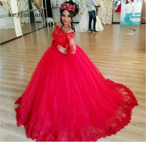 Vestidos De Novia Vintage Full Sleeve Lace Red Ball Gown Wedding Dress boat neck off the shoulder wedding gown custom