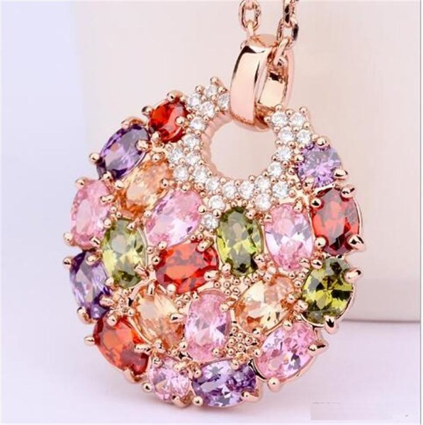 Luoteemi Newest Arrival Luxury Rose Gold Color Multicolor Cubic Zirconia Big Round Necklace Pendants for Women Fashion Jewelry TO181