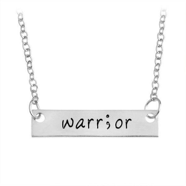 Cancer Survivor Suicide Awareness and Prevention Inspirational Handstamped Warrior Bar Stick Semicolon Healthy Amulet Necklace