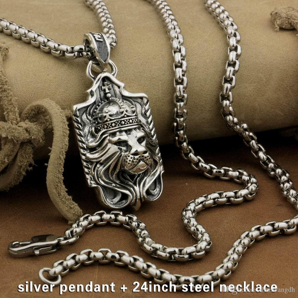 LINSION 925 Sterling Silver Lion King Pendant Sword Cross Mens Biker Rock Punk Style 9M019 Stainless Steel Necklace 24 inches