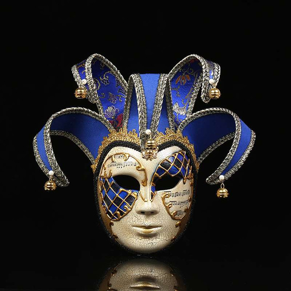 Venice Mask Jester Jolly for Costume Party Masquerade Carnival Dionysia Halloween Christmas Classic Italia Mask Full Face Props