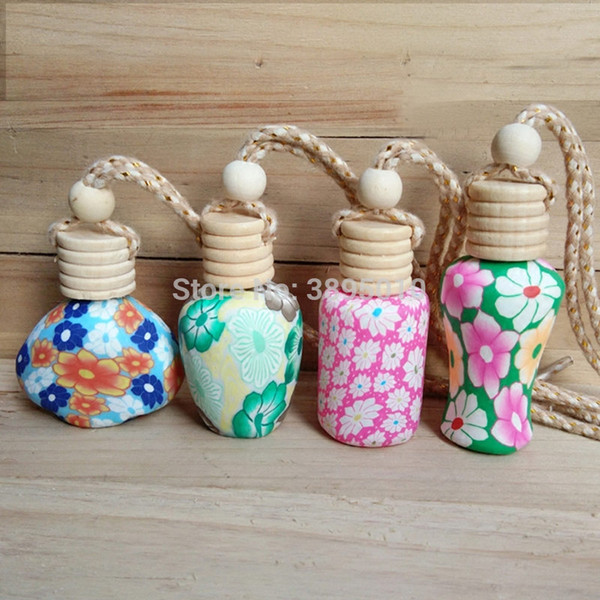 Polymer Clay Vials Glass Perfume Bottle for Essential Oil Fragrance Bottle Charming Pendant Car Decoration F1085