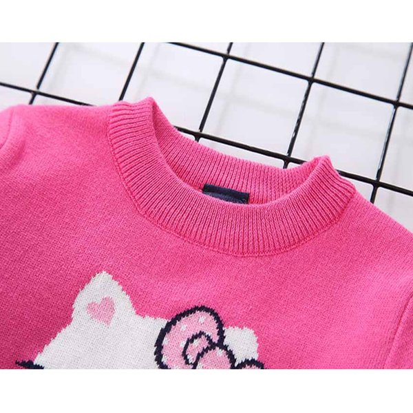 156f9d61b TWINSBELLA 2018 Children Spring Autumn Clothing Girls Cotton Knitted  Pullover Sweater Toddler Cartoon Pattern Bow Print Sweater