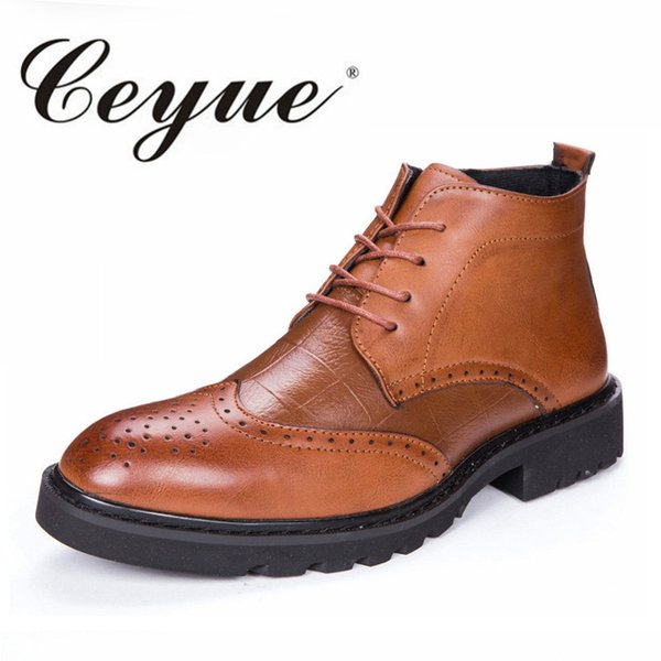 Ceyue 2017 New Fashion Brogue Boots Men Brand Wedding Men Ankle Boots Hot Autumn Walking Party Dress Shoes For Moccasin Flat