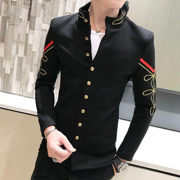 4 couleur bouton d'or col chinois costume veste slim fit mens blazer motif armée pilote veste hommes noir bleu rouge blanc blazer