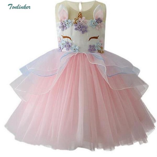 d8a2189a6b Meninas princesa unicórnio traje de tule tutu dress verão sem mangas festa  de aniversário fantasia extravagante