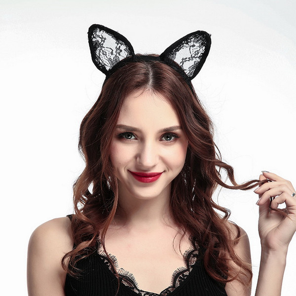 2018 Hot Sale New Women Black Sexy Lace Kitty Cat Ears Headband Halloween Hair Fun Accessories