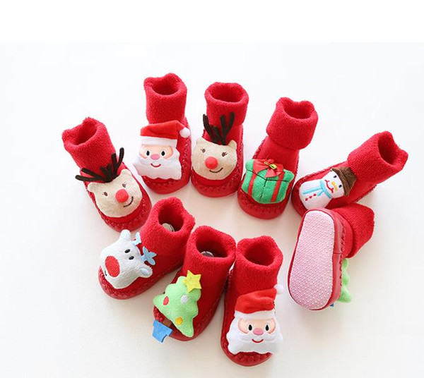 Newborn Infant Baby Christmas Stocking Terry Floor Socks Anti-Slip Baby Toddler 3D Cartoon Soft Cotton Sock Thicken red