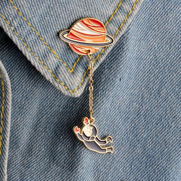 Мультфильм Астронавт Парусный Кролик Брошь Сатурн Планета Земля Булавки Цепи Кнопка Джинсовая Куртка Знак Ювелирные Изделия