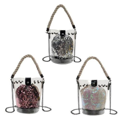 2018 New Women Bag Transparent PVC Jelly Shoulder Bag Sequins Chain Beach Bucket Bags Composite Messeager Crossbody Bag Handbags