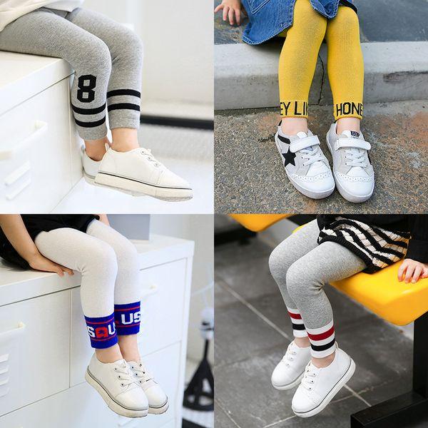 In Stock Cotton Kids Pants Girl Leggings Cute Letters Striped Pattern Kid Legging For Girls Boys Pants Skinny Children Baby Clothing