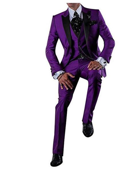 Bonito Roxo Groomsmen Pico Preto Lapela Do Noivo Smoking Um Botão Homens Ternos De Casamento / Prom Melhor Homem Blazer (Jacket + Pants + colete + Gravata)