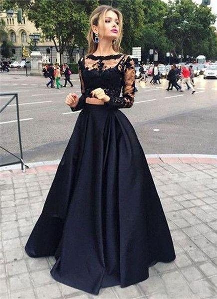 Две Части Платья Выпускного Вечера Сексуальное Черное Кружево С Длинным Рукавом Атласная Прозрачная Шея Особые Случаи Платья Викторианский Стиль Платье