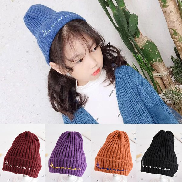 Autumn and winter baby wool hat children's warm earmuffs Korean version of boy and girl baby letters knit hat caps kids beanies
