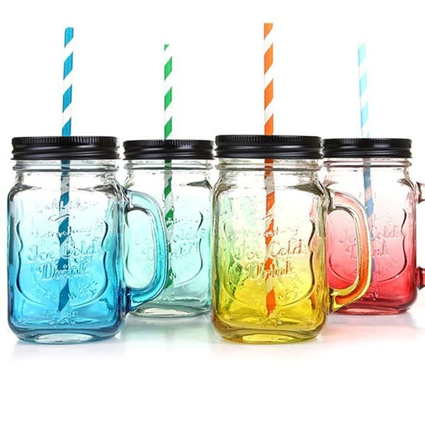 Creative Gradient Color Glass Water Bottle Mason Bottle For Water Transparent Juice Glass Cup With Lid With Straw Home Drinkware