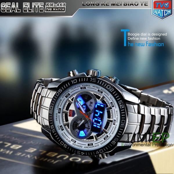 TVG Trendy Herren Sport Uhr Mode Blau Binary LED Zeiger Uhr Herren Tauchen Uhren Wasserdicht