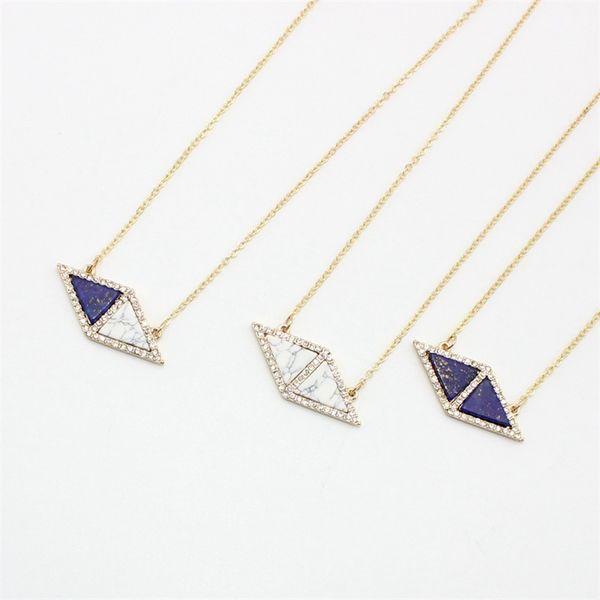 BOHO Triangle Turquoise Blue Natural Stone Pendant Necklace Druzy Quartz Crystal Gold Plated Dress Necklace Geometric Women Jewelry