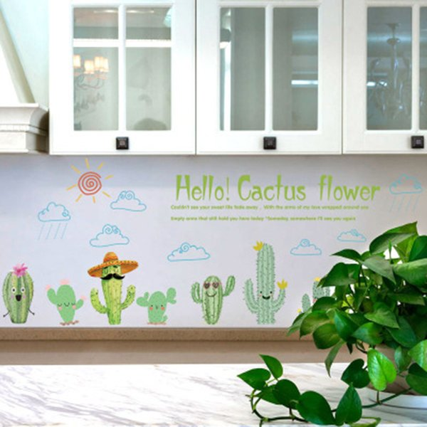 Acheter Bande Dessinée Cactus Fleurs Stickers Muraux Armoire Fenêtre En Verre Décor Peinture Murale Affiche Art Nuage Soleil Pluie Stickers Muraux