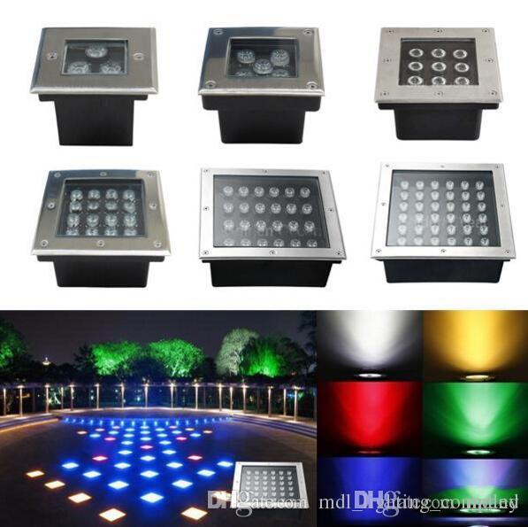 En gros LED Souterraine Lumière Sqaure 3W 4W 5W 6W 9W 12W 16W 24W 36W IP67 110-240V LED Pont creusé en plein air jardin lumières lampe de paysage