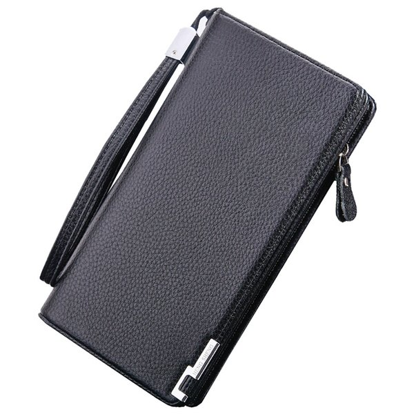 Vintage Brand Long Men Wallet PU Leather Men's Purse Zipper Pocket High Quality Male Big Capacity Clutch Wallet Purse Men