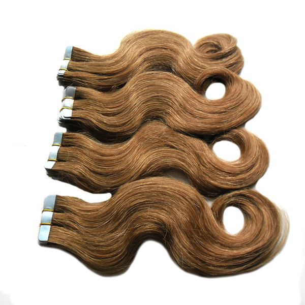 "Brazilian Body Wave Hair Skin Weft Tape Hair Extensions 18""20""22""24""26"" Unprocessed Virgin Brazilian Hair 200g (80pcs)"