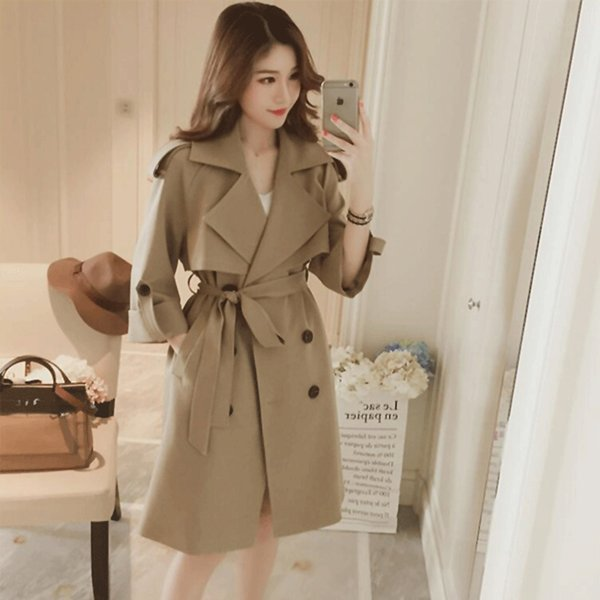 Windbreaker Women 2018 Spring Autumn Fashion Large size Outerwear Double-breasted Solid color Red Khaki Woman Trench Coat B470