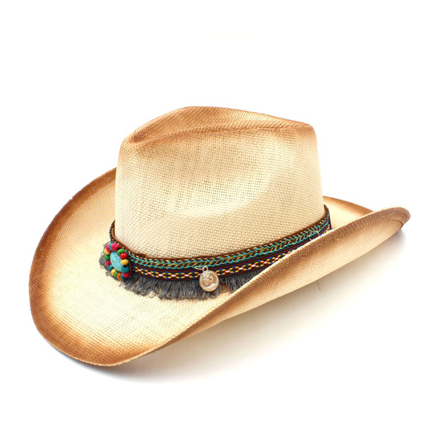 Fashion Women Straw Cowboy Hat With Punk Leather Band For Lady Western Sombrero Hombre Cowgirl Jazz Caps Size 58CM