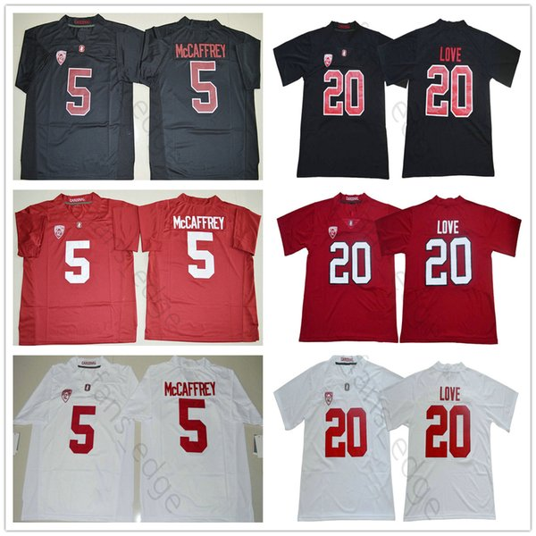 2018 2019 NCAA Stanford Cardinal #20 Bryce Love Jersey White Red Home Away Stitched Mens #5 Christian McCaffrey College Football Jerseys