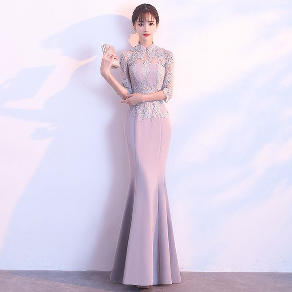 DH382 Traditional Chinese Clothing For Women Dress Open Fork Cheongsam Sexy Qipao Long Evening Dresses Robe Mariee Decisiontree
