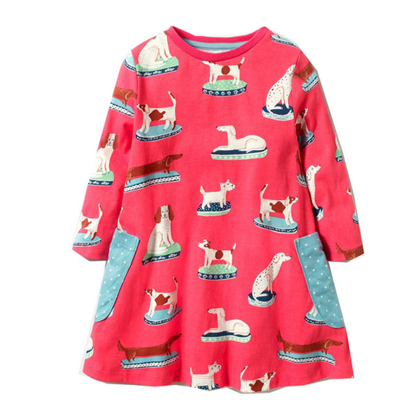 New Girl Striped Birthday Dress with Animals Appliqued Christmas Dress Long Sleeve Breathable Children Baby Clothing