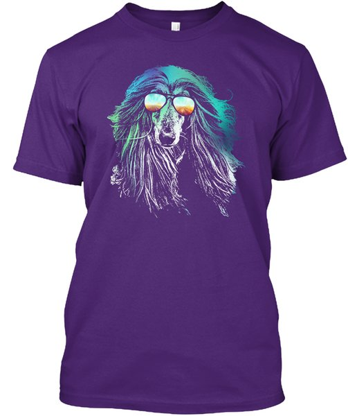 Summer Style Fashion Wholesale Discount T Shirts Men's Short Sleeve New Style Crew Neck Afghan Hound Neon Dog Tee Shirt