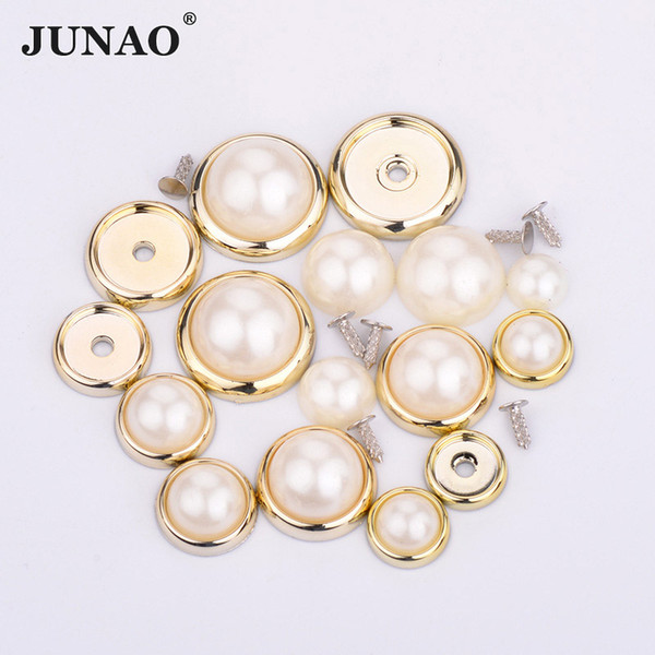 JUNAO 6 8 10 12 14mm White Pearls Beads Appliques Claw Rhinestones Spikes Studs Round Rivet for Leather Clothes Sewing Fabric