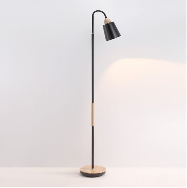 130cm High Floor Lamp with Metal Shade / Wood Cap + Handle + Base Cover Decor