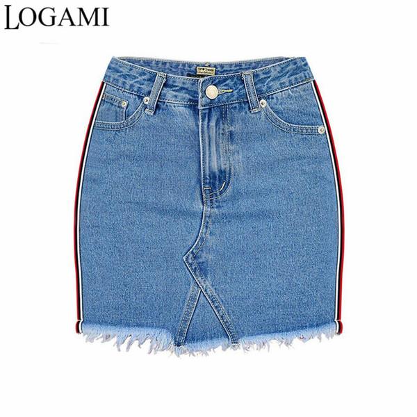 LOGAMI High Waist Side Stripe Patchwork Pencil Skirts Womens Spring Summer Jeans Mini Skirt Sexy Denim Short Skirt