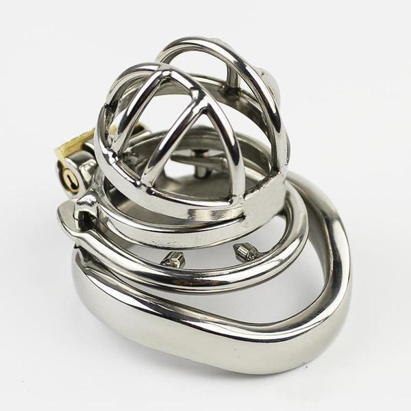 NUOVO acciaio inossidabile super piccolo gabbia di castità maschile con anello anti-off BDSM giocattoli del sesso per gli uomini dispositivo di castità 35mm corto gabbia SN273-1