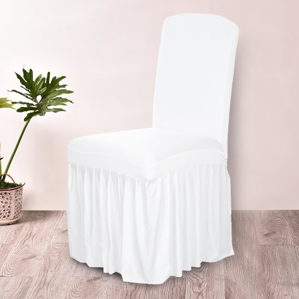 Spandex Stretch Chair Covers Elastic Cloth Ruffled Washable White Chair Seat Cover For Dining Room Weddings Banquet Party Hotel