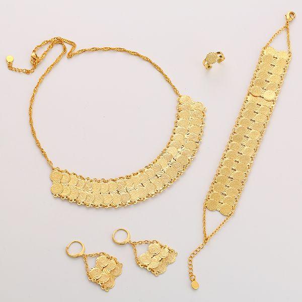 Exquisite Mode Nahen Osten arabische Braut muslimischen Münze Halskette Ohrring Ring Armband Set Gold Farbe Hochzeit Schmuck Zubehör