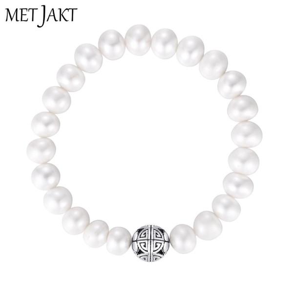 MetJakt Perle d'acqua dolce naturali Braccialetti di fascino elastico Solido 925 sterling Silver Long Life Happiness per gioielli regalo