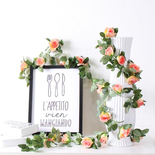 Wedding decorations Artificial Flowers Silk Rose Fake Flower Vine DIY Hanging Garland Wedding backdrop wall Decor flower wall Rattan wreath