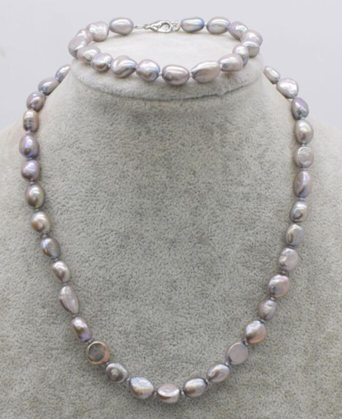 one set freshwater pearl gray baroque 8-9mm necklace bracelet wholesale 18inch FPPJ nature beads gift