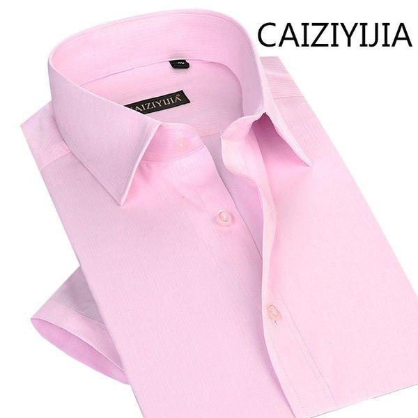 CAIZIYIJIA Erkek Yaz Iş Silm fit Kısa Kollu Gömlekler Yüksek Kalite Pamuk Katı Camisa Silm Masculina