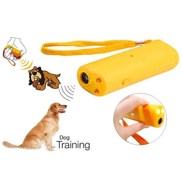 3 in 1 Anti Barking Stop Bark Ultrasonic Pet Dog Repellent Training Device Trainer Banish Training with LED Light and Retail Package A066