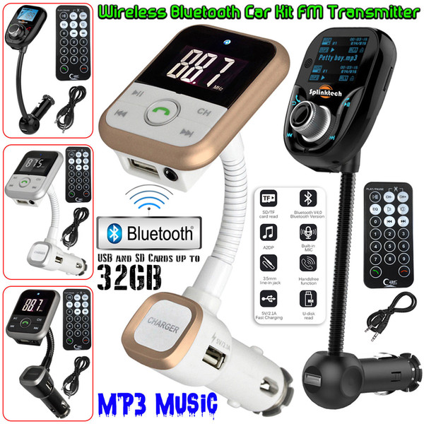 2018Wireless Bluetooth Car MP3 Player Radio FM Transmisor LCD SD USB Cargador Kit USB Modulator + Remote Envío gratuito