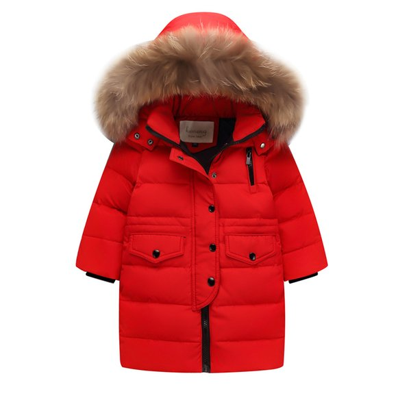 Children Winter Coat Teenage Girls Clothing Kids 2018 Big Girls Winter Jackets with Fur Warm Thick Hooded Long Down Parkas 10 12