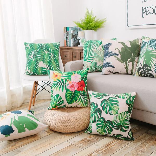 Pillowcase Tropical Flower Cushion Pillow Case Cover Cotton Linen Decorative Chair Seat Square 45x45cm Home Living Room