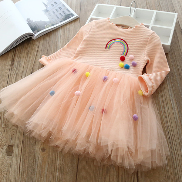 Princess Dress Long Sleeve Brand Spring Autumn Girl Clothes Fashion Embroidery Rainbow Ball Design Gauze Dress 3-7Y