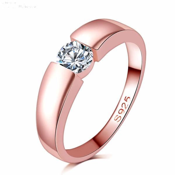 очаровательная бриллиантовое кольцо розовое золото Циркон обручальное кольцо ювелирные изделия 18K золото заполненные любовника кольцо для женщин 2811