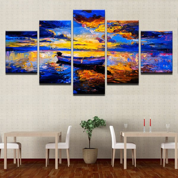 Canvas HD Prints Pictures Living Room Home Decor Framework 5 Pieces Abstract Ship Sea View Paintings Sunset Boat Poster Wall Art