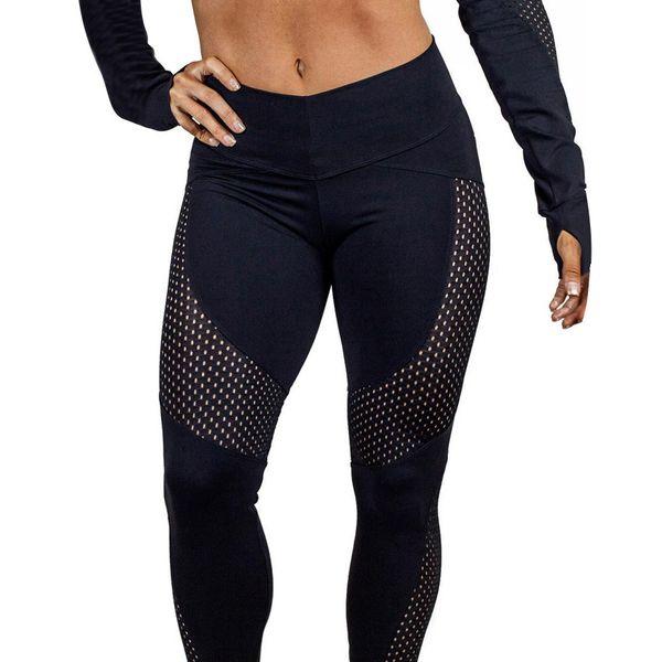 6706c98543bd96 High Quality Nylon Spandex Gym Leggings For Women Mesh Insert Yoga Pants  Joggings Fitness wear Wholesale