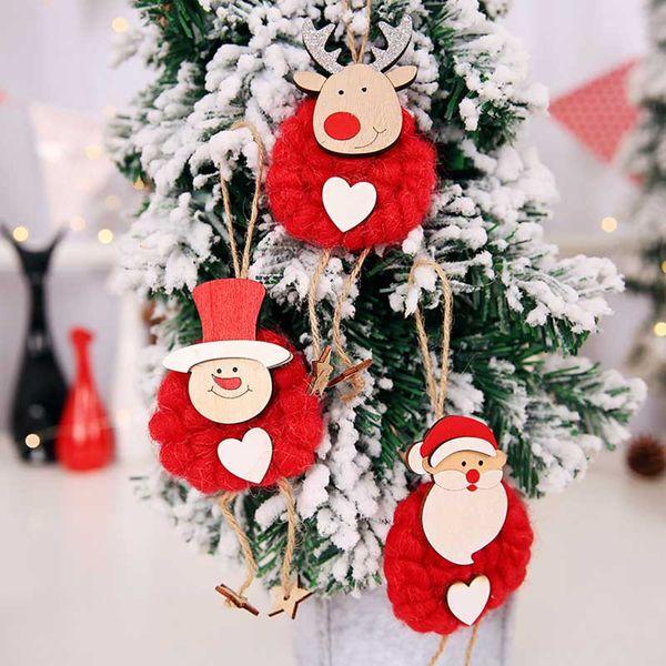 3pcs / set Cartoon Merry Christmas Babbo Natale pupazzo di neve renna bambola albero di natale appende decorazioni di partito di Natale Drop Shipping